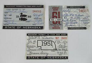 3 NEBRASKA FISH AND HUNT LICENSE/PERMIT (FISHING & HUNTING) 1951, 1960. 1961