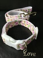 Dog Collar And Lead, Lilac Rose, Wedding Petwear, Photo Prop, Medium , Free P&P