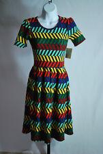 Lularoe Black Chevron Print Amelia Dress Women's Sz XS NWT