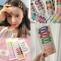 10Pcs Candy Color Hairpins Snap Hair Clip for Kids Girl Barrettes BB Clips Gift