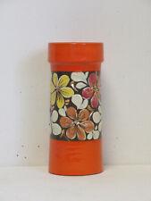More details for retro 1960s/1970s italian orange and muticloured floral design ceramic vase