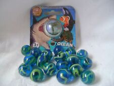 NEW OCEAN MARBLES ONE LARGE SHOOTER 25mm & 18 SMALL 16mm NET HOM SEA TURTLE
