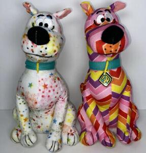 "Lot Of 2 Scooby Doo 12"" Plush Stuffed Animal Toy Factory Chevron Stars Colorful"