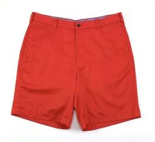 Brooks Brothers 346 Mens Red Solid Cotton Flat Front Chino Shorts Size 36