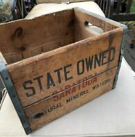Vintage Saratoga Mineral Water Wooden Crate 12 Pack bottles design 1947