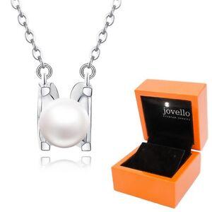 Perlen Kette Halskette aus 925 Silber mit 6mm Perle + exklusive LED Holzbox