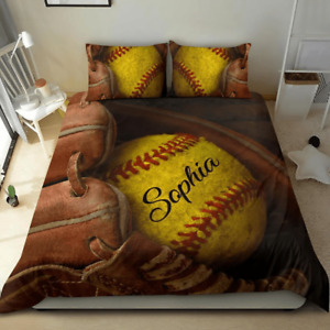 Softball Lovers Custom Personalized Name Duvet Cover Bedding Sets Gifts