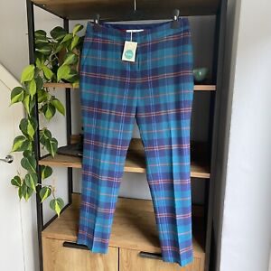 Boden Size 12 L Blue Green Tartan Plaid Check Wool Tweed Cropped Trousers NWT