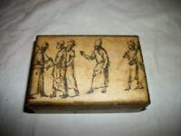 ITALIAN FLORENTINE WOOD BOX SEPIA PRINT ROBED MEN GILT VINTAGE MID CENTURY
