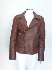 Cote By Improvd Cognac Brown leather jacket Quilted Slvs Sz Med Eu 42 $998