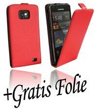 Samsung Galaxy S2 i9100 Kunst leder tasche handyschale Chic ROT + Schutzfolie