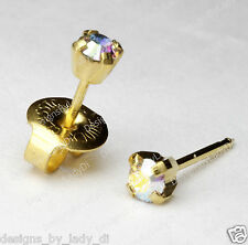 "Ear Piercing Earrings 3mm Gold Rainbow Crystal Pronged Studs ""Studex System 75"""