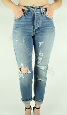 NWT Levis 501 S Skinny Fit Destroyed Selvedge Denim Jeans Pacific Ocean Blue