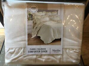 Martha Stewart Luxury Flannel Ruffle Full/Queen Duvet Cover - Ivory