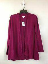 Women's J. Jill Long Sleeve Knit Cardigan Top, Size L Petite - Fuchsia