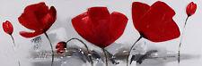 Bilder Wandbild Keilrahmen Ölgemälde 40X 120 cm Rot Blume  Art. 9050