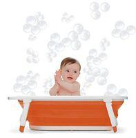 Bañera para bebé Niño Niña plegable portátil de Viaje Ocupa poco Espacio Naranja