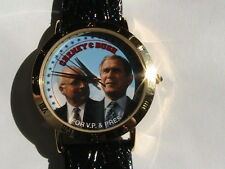 VINTAGE BUSH& CHENEY CAMPAIGN FACE WRIST WATCH WITH BLACK BAND,NEW BATTERY,JAPAN