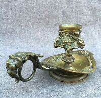 Small antique french bronze candle holder 19th century lion head faun