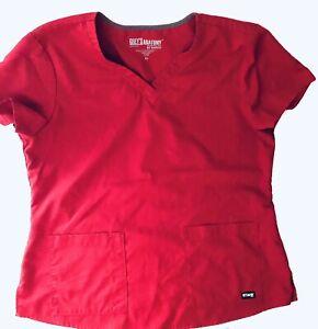 Womens Ladies Grey's Anatomy By Barco Red Scrub Top Size XL EUC