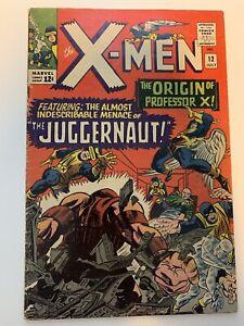 X-MEN #12 Marvel 1965 1st Juggernaut Origin Of Professor X VG/FINE