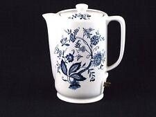 Vintage Japanese Ceramic Electric Coil Hot Water Pot Blue & White Floral Design