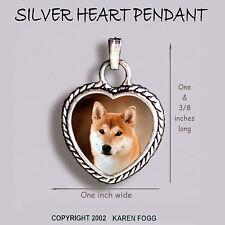 SHIBA INU DOG - Ornate HEART PENDANT Tibetan Silver
