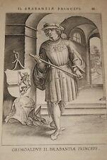 GRAVURE BELGIQUE GRIMOALD II BRABANT VEEN COLLAERT 1623 OLD PRINT R967