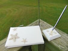Beach Wedding Cathy'S Concepts Guest Book & 00004000 ; Pen In Holder W/ Starfish & Diamonds