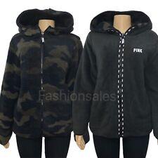 VICTORIAS SECRET PINK Sherpa Fleece Reversible Full Zip Hoodie Green Camo Black