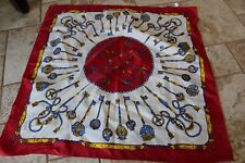 "Light Weight Scarf blue red gold Royal Keys Silk feel Polyester 28"" sq"
