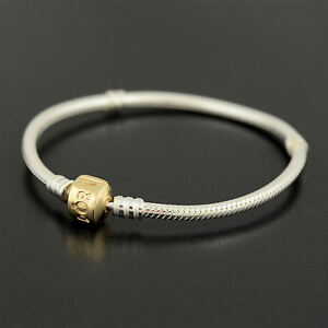Authentic Genuine Pandora Sterling Silver 14K Clasp Bracelet 590702HG