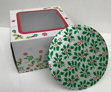 8'' Inch CHRISTMAS Round CAKE BOARD and BOX xmas DESIGN HOLLY BERRIES Festive