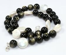 10 MM Natural Golden Eyes Obsidian Gold Flash Pearl Beads Necklace Birthday Gift