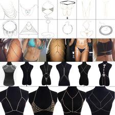 Womens Body Chain Bra Waist Leg Jewelry Bikini Beach Sexy Crossover Necklace