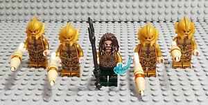 Lego Figuren Sammlung Aquaman mit Soldaten und Zubehör, 5 Stück.