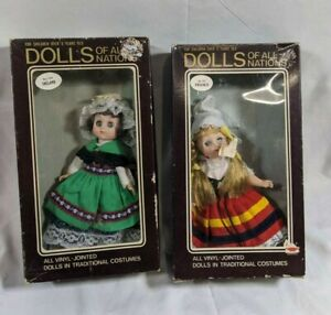 """Set of 2 Vintage Dolls of All Nations 7"""" Doll Collectibles - Orig Box, 131 & 135"""