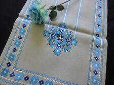 Vintage Hand-Embroidered Linen Table Runner with Silk BLUE Embroidery