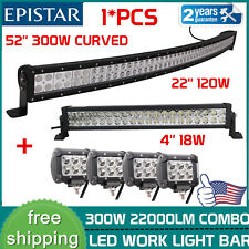 "52 inch 300W Curved LED Light Bar Combo+22'' 120W +4X 4"" 18W Pods CREE Jeep Boat"