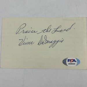 Vince Dimaggio Psa/dna Authenticated Signed 3x5 Index Card Autograph