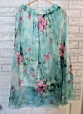 "Light Green Floral Boho silky BOHO Skirt 35"" Length with Silky Lining"