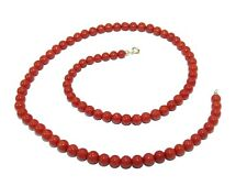 Red Coral Necklace Natural Stone 18k Gold Authentic Coral Sea Italy Jewellery