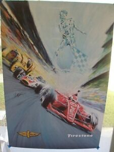 2016 INDY 500 THE 100th RUNNING LARGE FIRESTONE POSTER SOUVENIR INDYCAR IMS