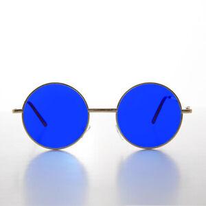 Round Hippy Blue Lens John Lennon Gold Frame Sunglass -Tippy Small