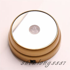 New Round 3D Crystal Glass Paperweights 3 LED Light Stand Base Display Golden