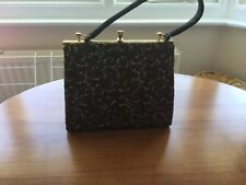Ladies Vintage Handbag Brown Velvet & Embroidery Lovely/ Unusual.