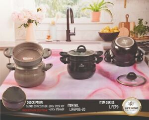 Non Stick Dumpling Couscous Steamer, Induction Stone Coated Pot With Steamer