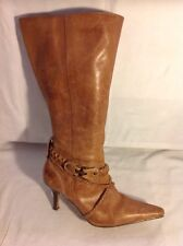 Essence Brown Mid Calf Leather Boots Size 4