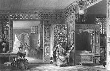 China, RICH MANDARIN WOMAN BEDROOM MANSION LATTICE ~ 1843 Art Print Engraving