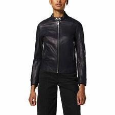 DIESEL L LORY C Womens Biker Jacket Genuine Leather Long Sleeve Cafe Racer Coat